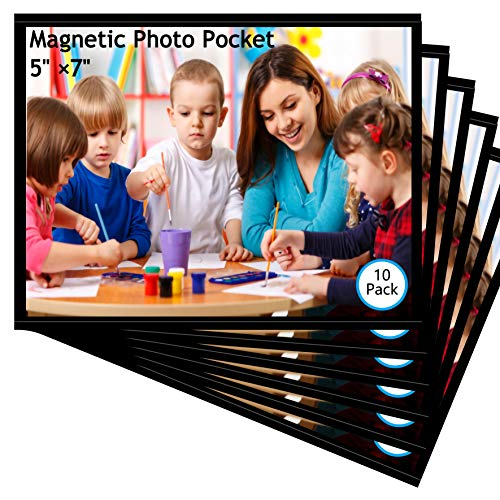 10 Pack 5'x7' Premium Magnetic Picture Pockets Frames with Black Holds 5 x 7 inches Photo for Refrigeratorby M.Memo