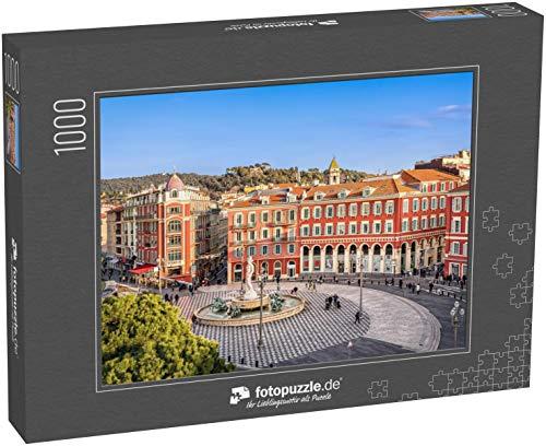 fotopuzzle.de Puzzle 1000 Teile Luftaufnahme des Place Massena Platzes mit roten Gebäuden und Brunnen in Nizza, Frankreich