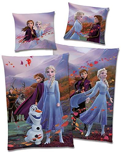 BERONAGE Disney Frozen 2 Children's Bed Linen Frozen Fairytale Blue Purple 135 x 200 cm + 80 x 80 cm 100% Cotton Linon/Renforcé Anna Elsa Olaf Sven Kristoff Reversible Bed Linen German Size