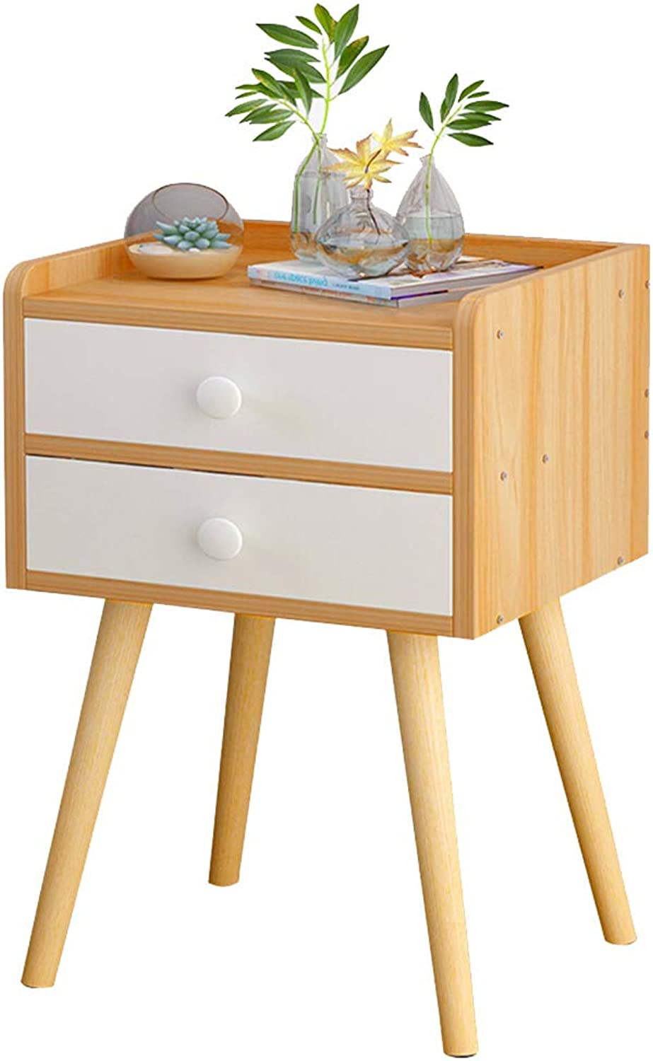 Bedside Table Cabinet with Drawer and Shelf Multipurpose Storage Unit Solid Wood Table Legs Light Wood (Size   2 Drawer)