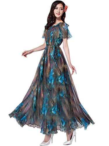 MedeShe Women's Chiffon Floral Holiday Beach Bridesmaid Maxi Dress Sundress (XX-Large, Peacock Blue-Short Sleeve)