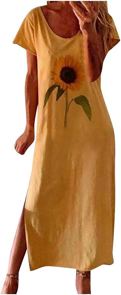 Iqka Vestidos De Lino Para Mujer Con Estampado De Girasol Manga Corta Para El Verano Casual Suelto Vestidos Tallas Grandes Clothing