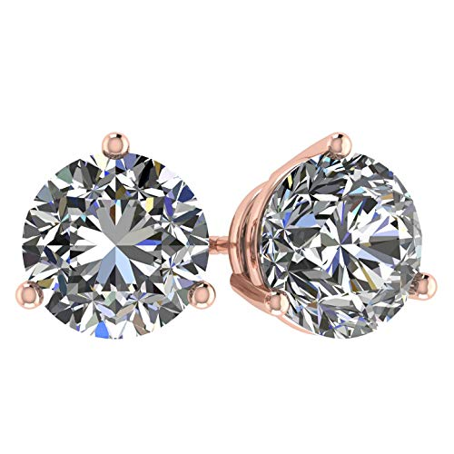 NANA 14k Gold Post & Sterling Silver 3 Prong CZ Stud Earrings -Rose Plated-5.5mm-1.50cttw