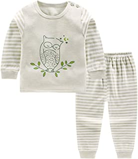 Meiju Baby Pajamas for Boy Girls Autumn Solid Color Long Sleeve Button Clothing Set Cotton Unisex Newborn Kids Sleepwear Clothes High Waist Snug-Fit 2-Pack for 1-5 Years