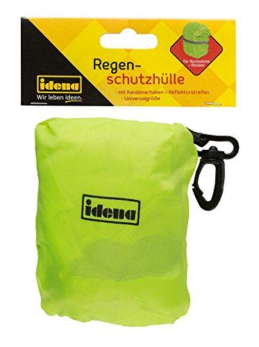 Idena 20055 Regenschutzhülle für Rucksäcke und Ranzen, neon gelb mit Reflektorstreifen, Universalgröße mit Gummizug, wasserabweisend, inklusive Aufbewahrungsbeutel und Karabiner