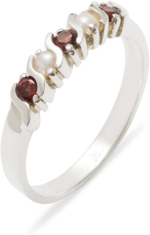 Solid 925 Sterling Silver Real Ranking TOP6 Genuine Pearl Award-winning store Garnet Cultured W