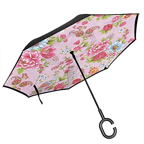 El paraguas invertido de doble capa con mango en forma de C de Paisley Floral Eijffinger es adecuado para uso al aire libre bajo la lluvia