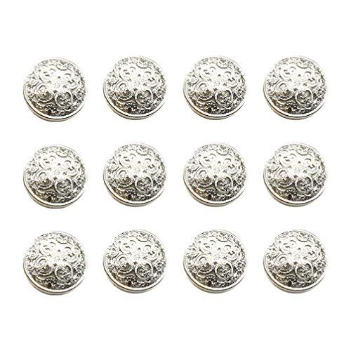 Heallily - Bottoni rotondi in metallo, piatti, stile vintage, 30 pezzi, per giacche fai da te, per lavori artigianali, cucito, 18 mm, colore: Argento