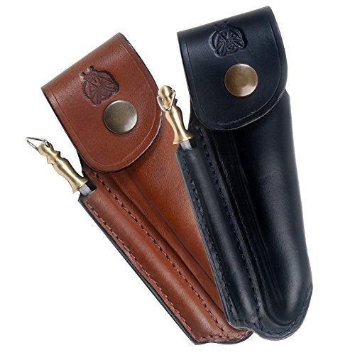 Laguiole Actiforge - Etui cuir formé pour couteau Laguiole - Fabrication Française Artisanale - Marron - Avec Fusil
