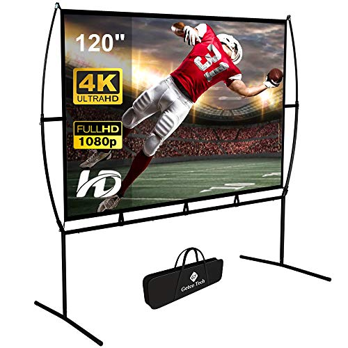 Projector Screen with Stand 120 inch,Outdoor Projector screen16:9 4K HD Double SidedProjections Movies Screen,Portable Projector Screenfor Home Theater Wrinkle-Free with Carry Bag.