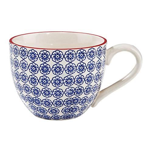 BUTLERS Retro Tasse 550ml - Blaue Kaffeetasse Vintage Design – Hochwertige Porzellantasse, Kaffeebecher, bunte Teetasse
