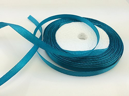 Solid Color Satin Ribbon 1/4',25yds (Peacock Blue)