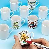 Baker Ross Mini tazas de porcelana Baker Ross (caja de 6) para decorar, personalizar y regalar a los niños