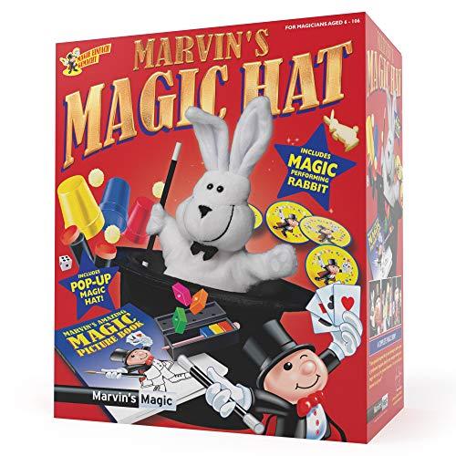 Marvin's Magic - Asombroso Sombrero de Copa y Conejo De Magia - Increíbles Trucos De Magia para Niños - Incluye Sombrero Mágico Emergente, Varita y Conejo Mágico - Adecuado para Niños de 6 Años o Más