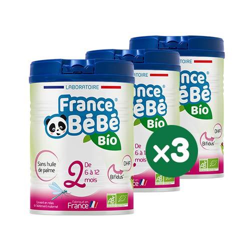 FRANCE BéBé BIO - Lait infantile de suite bébé 2ème âge en poudre - Lait fabriqué en France - OMEGA 3 - SANS HUILE DE PALME - BIFIDUS - Pack 3 boîtes de 800g