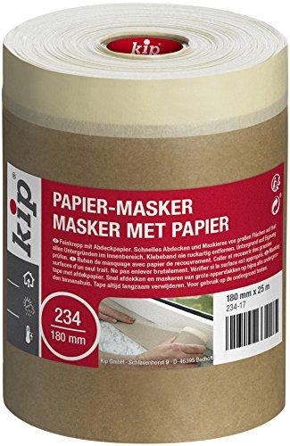 Kip Abdeckpapier mit Klebestreifen 234-17 Maler Abdeckmaterial 180 mm x 25 m