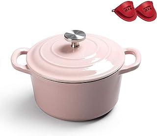 l.e.i. Multicolor Mini Enamel Casserole Dish 18cm with Lid Easy-to-Clean Enamel Coating Dutch Oven(Color:Pink)