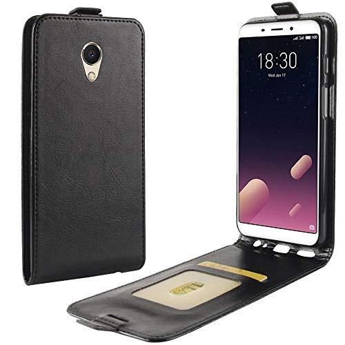 Sangrl Tasche Für Meizu S6 / Meizu M6S, Hohe Qualität PU Leather Flip Hülle Soft Texture up & Down Open Tasche Ledertasche Schwarz