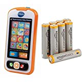 VTech Touch and Swipe Baby Phone with Amazon Basics AAA Batteries Bundle