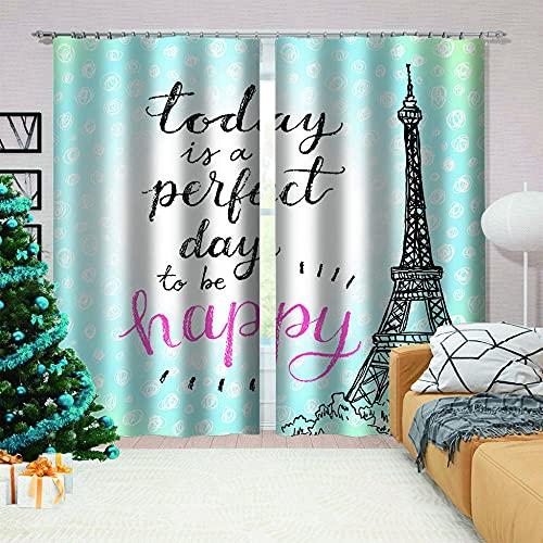 LJUKO Cortina Opaca en Cocina el Salon dormitorios habitación Infantil 3D Impresión Digital Ojales Cortinas termica - 234x183 cm - Azul parís Torre Eiffel Letras