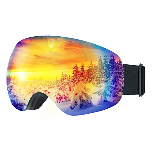 LiSmile Skibrille C 100% uv400protection, abnehmbar und Anti-Fog-Objektiv, blau