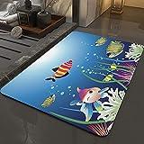 Alfombra Antideslizante Alfombra,Acuario, acuario marino con coloridos peces tropicales burbujas algas ma,Espuma de Memoria Piso Baño Alfombra Absorber Alfombra de baño Suave Alfombra de baño 50x80 cm