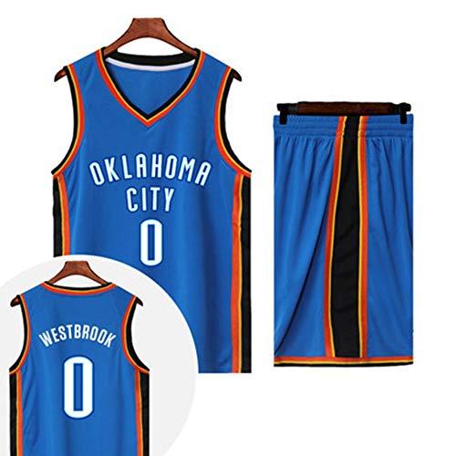 YDYL-LI OKC # 0 Russell Westbrook all-Star Classic Senza Maniche Traspirante Sciolto Gilet da Basket Vestito da Allenamento (Camicia + Pantaloncini), Bianco,L(160~165CM/45~55KG)