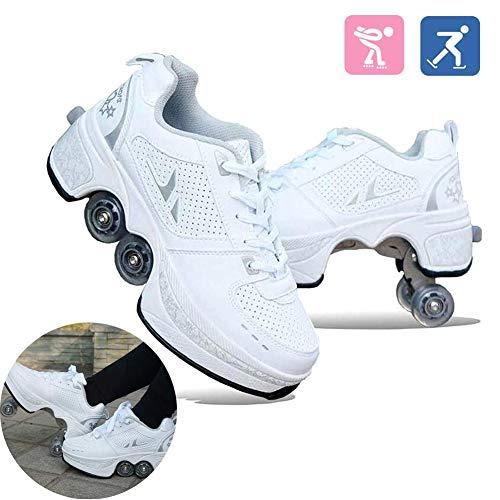 HealHeatersR Quad Skates Roller Schoenen voor Jongens Meisjes Unisex Kinderen Automatische Wandelschoenen Onzichtbare Vervorming Rolschaats Verwijderbare Pulley Skates Schaatsen
