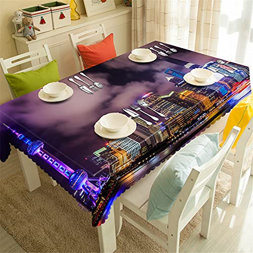 YGHBKL Smoke Clouds in the City Night Sky 3D Tablecloth Polyester Rectangular Tablecloth Picnic Fabric Main Decoration 90 x 90 cm