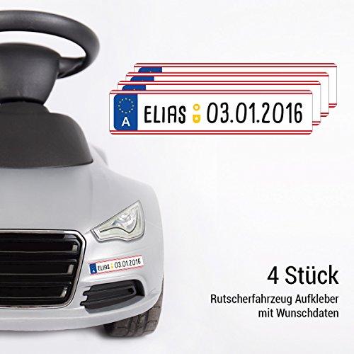 Motoking Kennzeichen im 4er Set - Mit Ihrem Wunschnamen - Aufkleber für Kinderautos, Rutscher, Elektroautos - Österreich - Größe: 13 x 2,7 cm