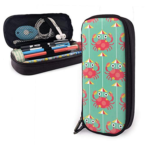 Lawenp Multifunktionspaket Crab Cartoon Glamour Funny Themed Pattern Printed Mini School Pencil Case Holder Pouch Office Pen Box Zipper Bag Set Pu Leather Zip for Girls Boy Men Women Accessories