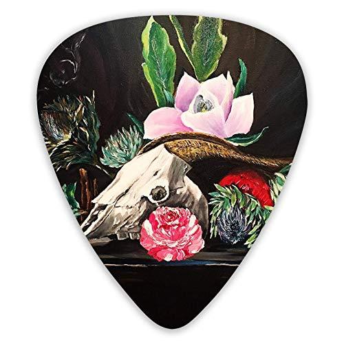Gitarrenpicks Antilopenschädel und Blumen 12 Stück Ukulelenpicks Einschließlich 0,46 mm 0,71 mm 0,96 mm