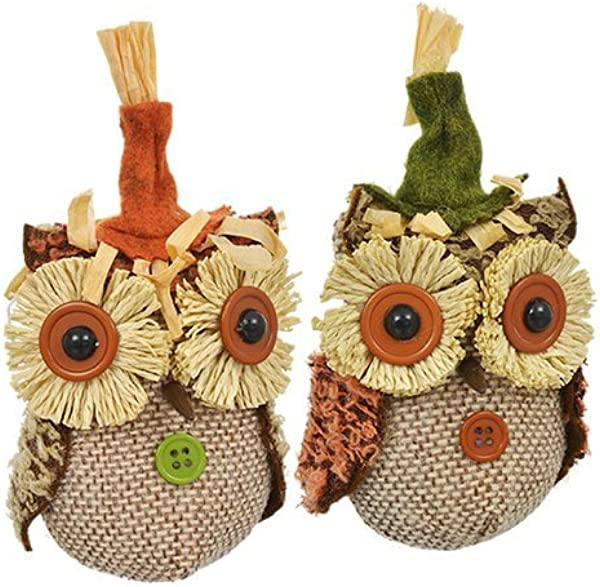 LJIF Thanksgiving Fall Harvest Autumn Super Cute Burlap Fall Owl Ornaments 5 In Bundle 2