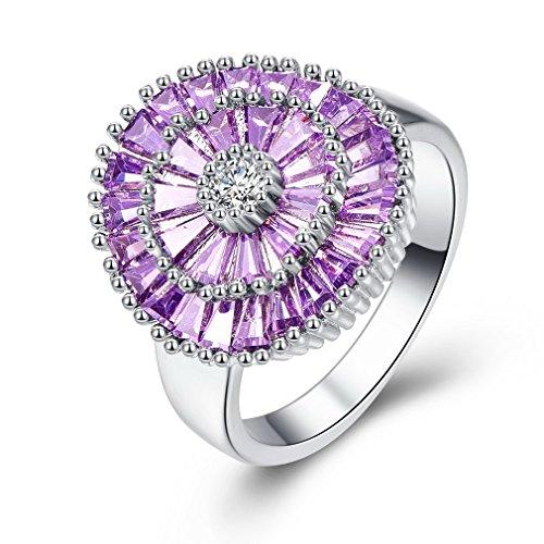 YAZILIND púrpura Cubic Zirconia Anillo de Fireworks Forma Platino Plateado Promesa Compromiso para Mujeres tamaño 19,5