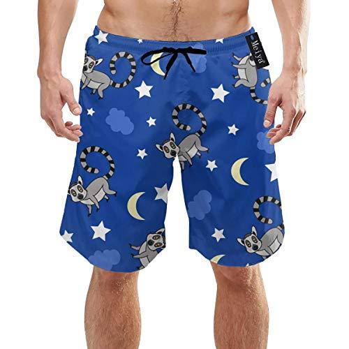 Lemur Family Love Nursery Herren Badehose Sommer Cool Quick Dry Board Shorts Badeanzug mit Seitentaschen Mesh Futter XXL