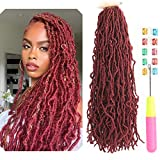 New Faux Locs Crochet Hair 24 Inch Curly Wavy Goddess Locs Crochet New Locs Crochet Hair Pre-twisted Knotless New Locs Crochet Hair Fiber Synthetic Hair African Roots Hair Extensions (24 Inches, Bug)