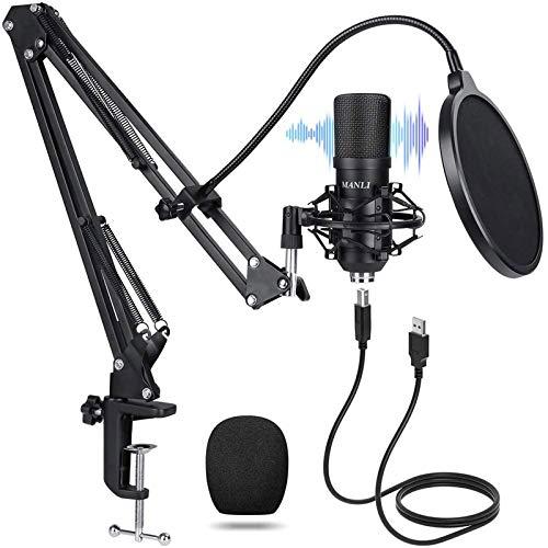 USB Mikrofon, MANLI USB Mikrofon PC Kondensator Microphone 192KHz/24Bit studio mikrofon Standmikrofon Kondensatormikrofon professionell Podcast Mikrofon für Rundfunk Aufnahme Online YouTube Podcast