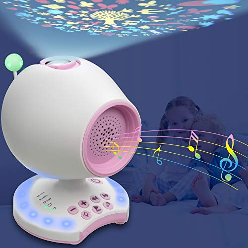 White Noise Sound Machine, Portable Crib Toy Sleep Therapy Soother for Baby Kid Infant, 20 Soothing Lullaby/Ceiling Projection/Night Light/Auto-Off Timer/Headphone Jack, Music Sound Spa Bedroom Decor