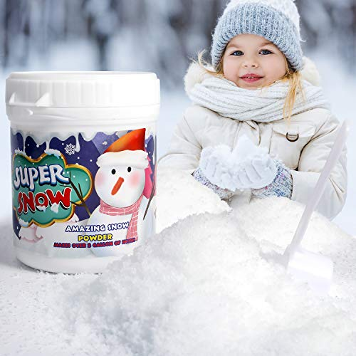 Baby Home 5 Ounces Fake Snow - Instant Artificial Snow Powder,Fluffy Snow in Seconds,Great for Making Cloud Slime,Christmas Tree Decoration,Science Activities and Winter Displays(Over 2 Gallons)