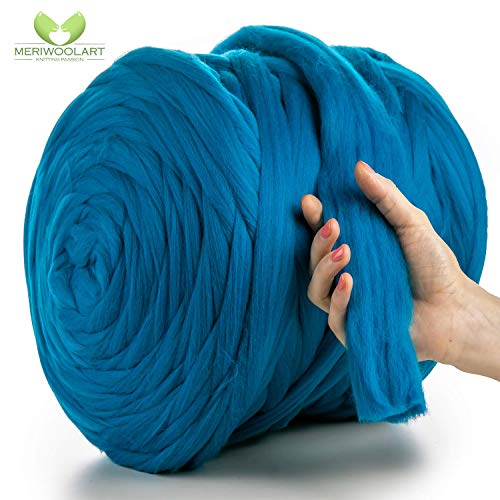 MeriWoolArt 100% merinowol voor breien en haken met 4-5 cm dik garen | dikke merinowol voor XXL sjaal, deken & kussens 4,5Kg Rolle turquoise