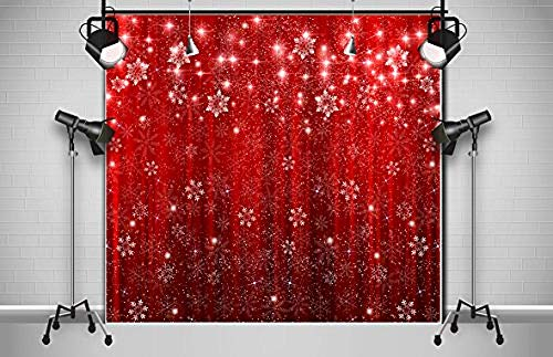 New Christmas Snowflake Photography Backdrops Red Shinning Glitter Photo Studio Background Xmas Eve Family Party Banner Photobooth Props Happy New Year Photo Studio-10'x10'