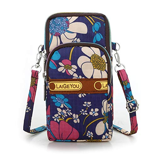 Fashion Sports Shoulder Bag Mini Wrist Purse Armband Bag Universal Phone Holder Pouch Case for iPhone/Samsung/LG/Moto/Black Berry/Sony/HTC/Nexus/Nokia/Lumia/Huawei and So on. (Blue Sunflower)