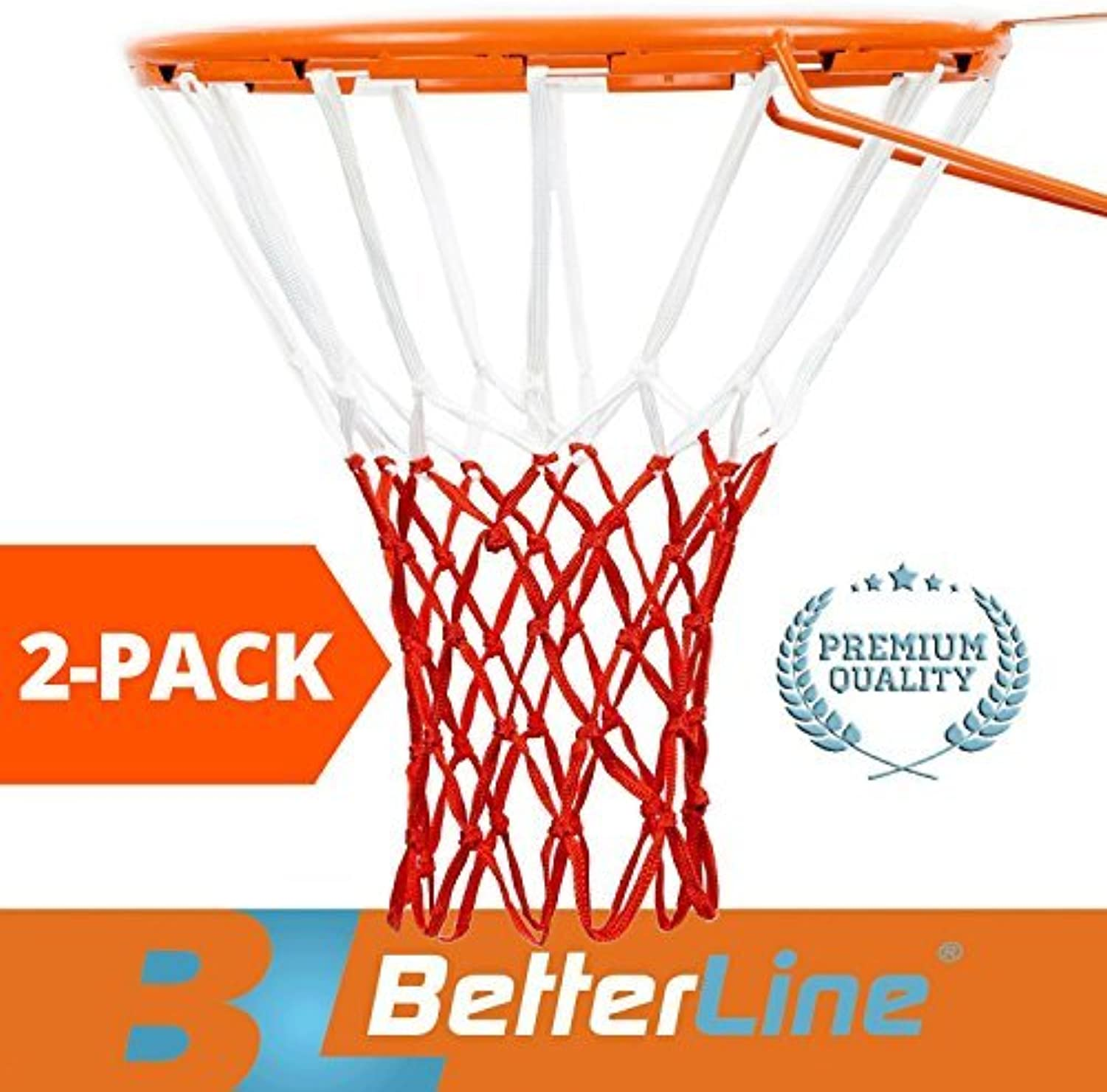 BETTERLINE 2-Pack Basketball Nets   Heavy Duty Quality All-Weather Thick Net   Multi-Pack - 12 Loop Nets (Red and White) - 2 Basketball Nets in Pack - for Indoor and Outdoor Use