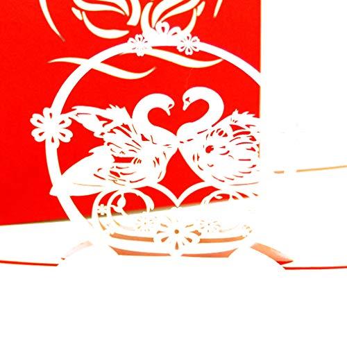 """Pop Up Karte\""""Swans in Love\""""- 3D Hochzeitskarte & Hochzeitseinladung – als Geschenkgutschein, Geldgeschenk oder Einladungskarten Hochzeit, Verlobungskarten, 3D Valentinskarten, Safe the date Karten"""