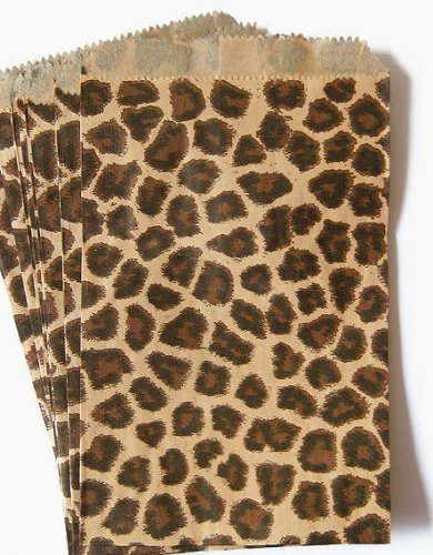 100 Pack Leopard Design Kraft Paper Bags, 4 x 6, Good for Candy, Cookies, Arts Crafts Items, Party Favor, Sandwich, Jewelry Merchandise- by RJ Displays