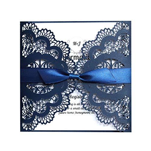 JinSu 20PCs Faire-Part de Mariage, Invitation de Mariage avec Feuilles Intérieures, Enveloppes et Ruban pour Marriage, Anniversaire, Fête dDouche Nuptiale, Célébrations et Plus ( Bleu Marin )