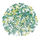 PandaHall Azulejos cuadrados de mosaico de vidrio, 0,4 kg, 4 estilos de mosaico de vidrio verde para platos, piedras de piso, mesas al aire libre, proyectos de arte de mosaico
