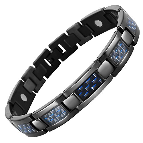 Willis Judd Mens Blue Carbon Fiber Titanium Magnetic Bracelet...