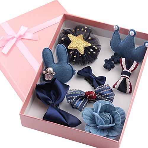 Baywell Baby Kinder Mädchen Haarschmuck Haarspang Haarnadel Bowknot Geburtstag Geschenke Box Set Kopfschmuck 10 Stücke (Navy Blau)