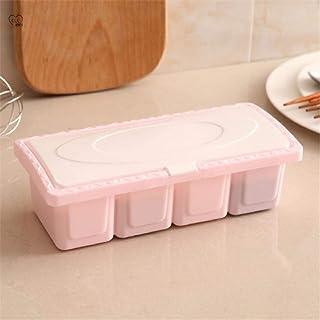 N\P Gadgets de Cuisine boîte d'assaisonnement à Quatre grilles en Plastique Ensemble de cuillère Anti-poussière Maison ass...